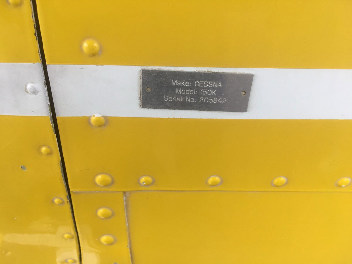 A/C serial number not engine number data tag